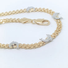 Load image into Gallery viewer, Dolphin Bracelet Gold Overlay Two Tone - 7-3/4""