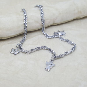 Butterfly, Angel, Turtle Charms Anklet Stainless Steel, 10""