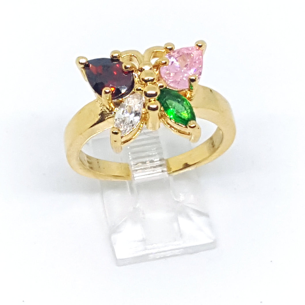 Butterfly Ring, Gold Overlay Cubic Zirconia (3 Colors Available)