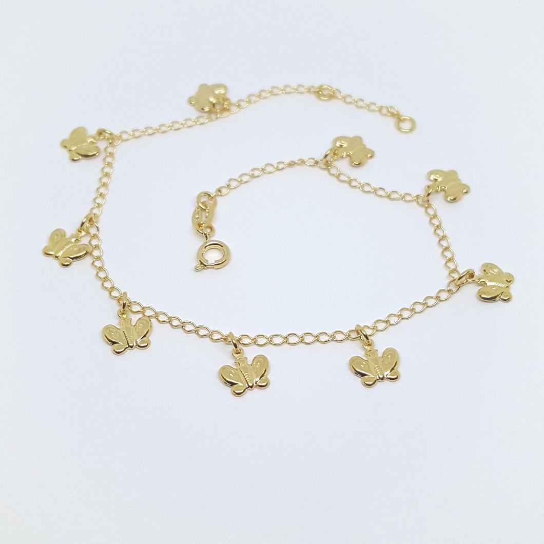 Butterfly Charms Anklet, Gold Overlay, Adjustable to 10