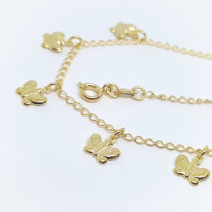 Butterfly Charms Anklet, Gold Overlay, Adjustable to 10""