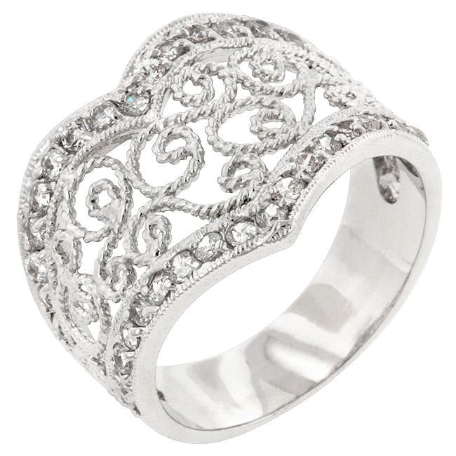 Cubic Zirconia Filigree Hearts Ring Silvertone