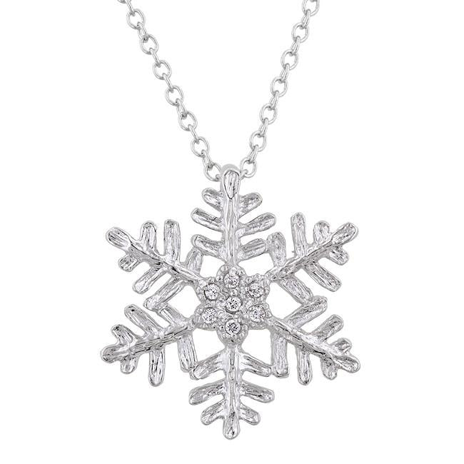 Snowflake Pendant Necklace Rhodium Plated Round Cut Clear Cubic Zirconia Accents Silvertone
