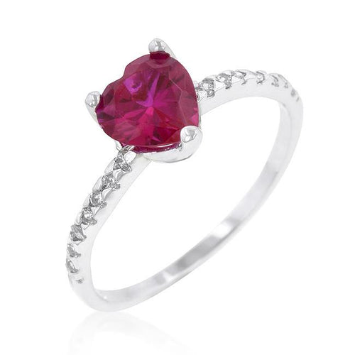 Ruby Red Heart Ring Cubic Zirconia Silvertone