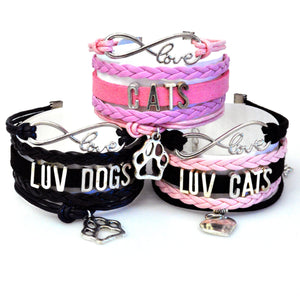 Spirit Animal Paw Print or Heart Cats & Dogs Lovers Bracelets