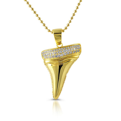 Shark Tooth Design CZ Gold Pendant