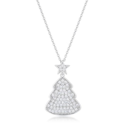 Christmas Tree Necklace Clear Rhodium Cubic Zirconia Silvertone