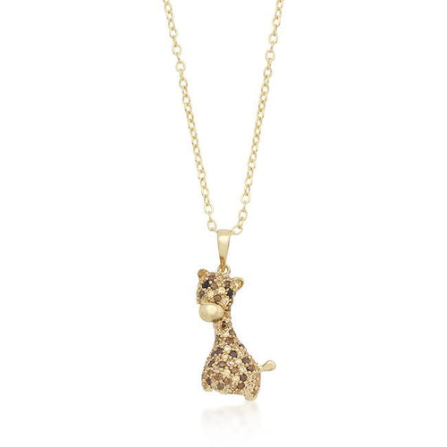 Giraffe Pendant Necklace Goldtone Pave Champagne & Black Cubic Zirconia