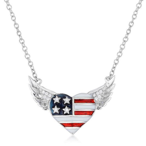 Patriotic Winged Heart Necklace with Cubic Zirconia Accents