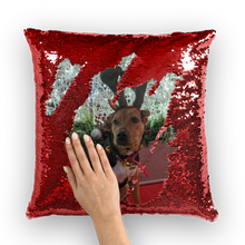 Load image into Gallery viewer, Sequin Throw Pillow - Christmas Dog
