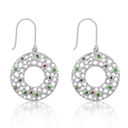 Christmas Holiday Earrings Red and Green Cubic Zirconia Silvertone
