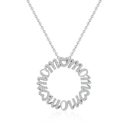 Mom Circle Pendant Necklace - Rhodium Plated Pave Cubic Zirconia Silvertone Chain