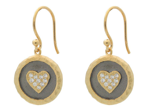 Hammered Vermeil Silver Heart Disc Hook Earrings