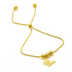 Butterfly Charm & Beads Bracelet Gold Plated Stainless Steel Adjustable