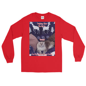 """Christmas Kitty"" Customizable Unisex Long Sleeve T-Shirt (""Chena"")"