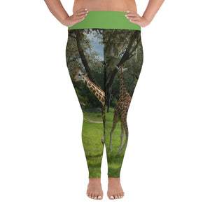 Women's All-Over Print Plus Size Fitness/Fashion Leggings - Jeffrey the Giraffe Collection
