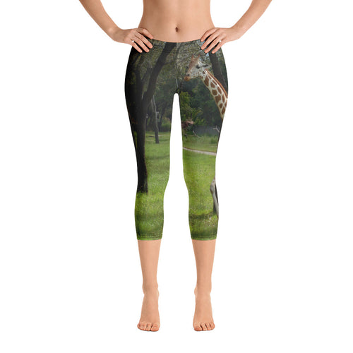 Women's Fitness/Fashion Capri Leggings - All-Over Print - Jeffrey the Giraffe Collection