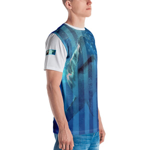 Premium T-shirt (2-sided) - Short Sleeve Unisex - Surrounded by Sharks - Patriotic Flag Shark Shirt Collection