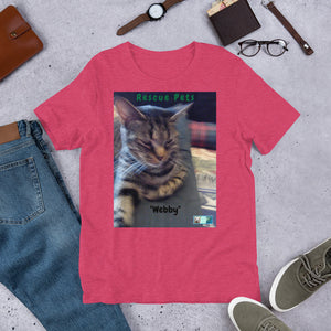 "Unisex Fine Jersey Short Sleeve T-Shirt - Rescue Pets Collection - ""Webby"" II"