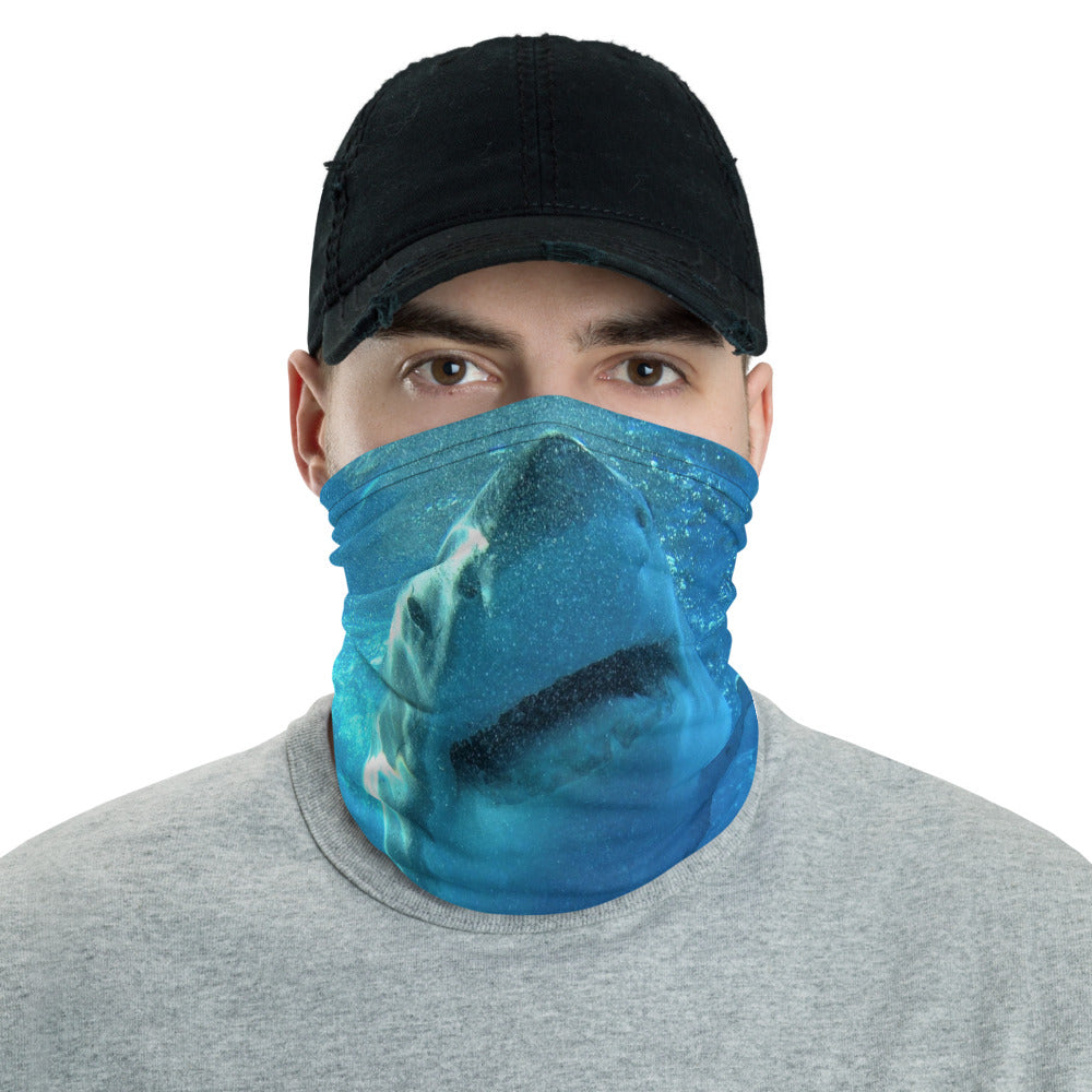 Neck Gaiter Face Mask Headband Bandana - Great White Shark Face