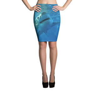 Women's All-Over Print Pencil Skirt - Surrounded by Sharks Collection