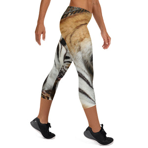 Women's Fitness/Fashion Capri Leggings - All-Over Print - Toby the Tiger Collection