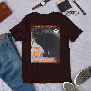 Halloween Black Cat Customizable Short-Sleeve Unisex T-Shirt