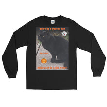 Load image into Gallery viewer, Halloween Black Cat Customizable Long Sleeve T-Shirt