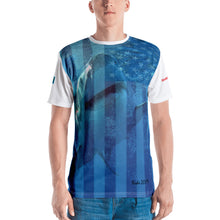 Load image into Gallery viewer, Premium T-shirt (2-sided) - Short Sleeve Unisex - Surrounded by Sharks - Patriotic Flag Shark Shirt Collection
