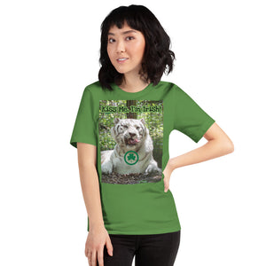 """Kiss Me, I'm Irish"" Customizable Short-Sleeve Unisex T-Shirt - St Patrick's Day White Tiger"
