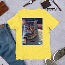 "Load image into Gallery viewer, Unisex Fine Jersey Short Sleeve T-Shirt - Rescue Pets Collection - ""Webby"" II"