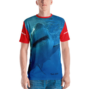 Premium T-shirt (2-sided) - Short Sleeve Unisex - Surrounded by Sharks - Patriotic Shark Shirt Collection