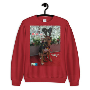 """Christmas Dog"" Premium Customizable Unisex Sweatshirt (""Lucy"")"