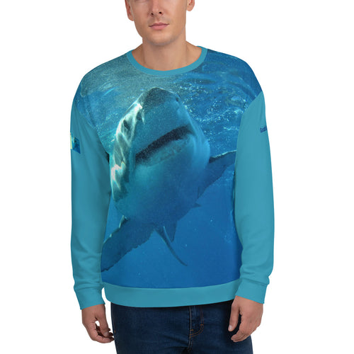 Unisex Premium Sweatshirt - 2-Sided All-over Print - Surrounded by Sharks Collection