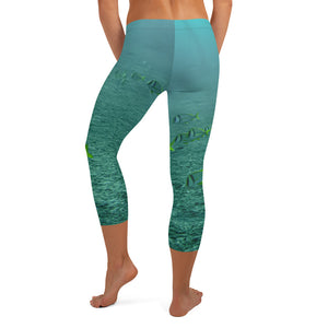 Women's Fitness/Fashion Capri Leggings - All-Over Print - Reef Fish Collection