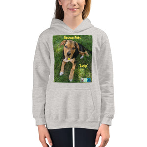 "Kids Hoodie Sweatshirt - Rescue Pets Collection - ""Lucy"" V"
