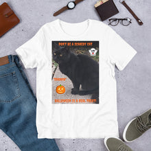 Load image into Gallery viewer, Halloween Black Cat Customizable Short-Sleeve Unisex T-Shirt