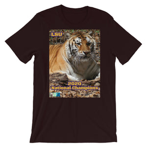 NCAA 2020 College Football LSU Tigers National Champions Customizable Short-Sleeve Unisex T-Shirt
