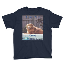 "Load image into Gallery viewer, Youth/Kids' Short Sleeve T-Shirt - Rescue Pets Collection - ""Candy"""