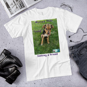 "Unisex Fine Jersey Short Sleeve T-Shirt - Rescue Pets Collection - ""Lucy"" IV"