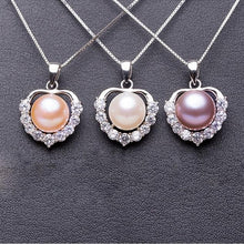 Load image into Gallery viewer, Freshwater Pearl Heart Silver Necklace (Rose Gold, White, or Purple)