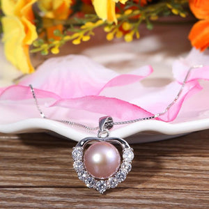 Freshwater Pearl Heart Silver Necklace (Rose Gold, White, or Purple)
