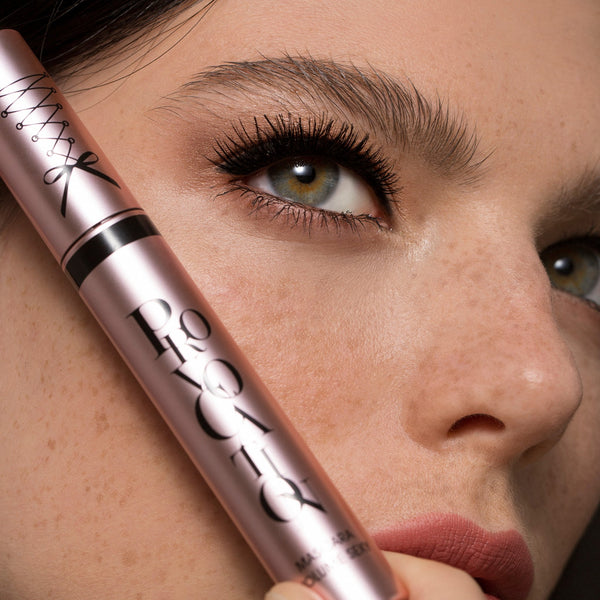 Closeup of a model with voluminous lashes and Vivienne Sabo Provocation