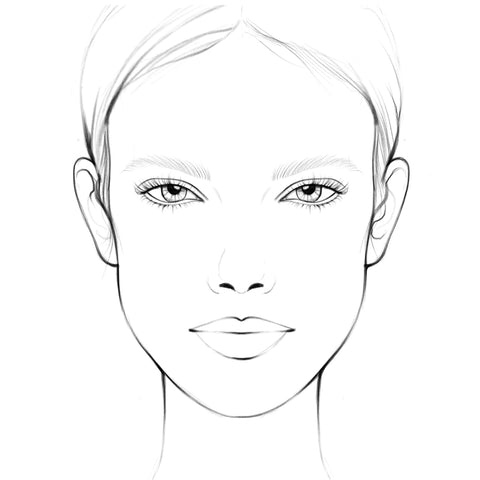 Face chart for makeup artists and students