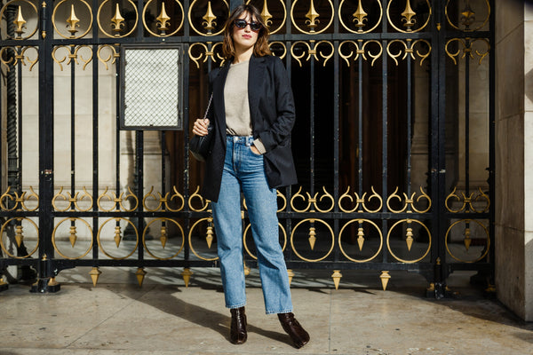 Jeanne Damas in jeans and blazer