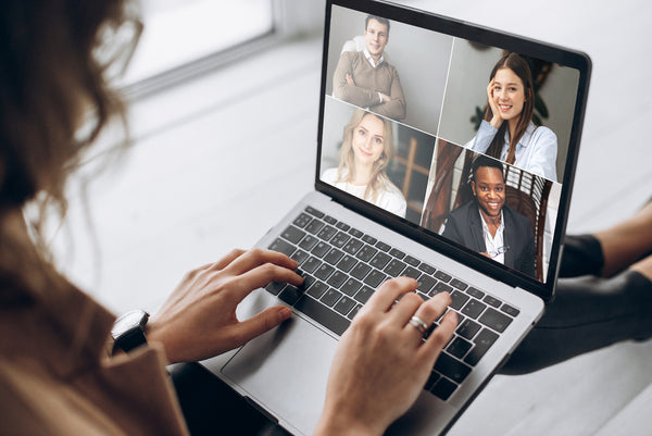Woman on video chat meeting