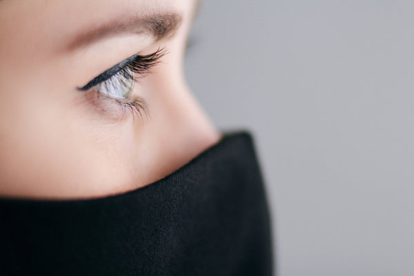 Closeup of woman with full lashes and black mask on
