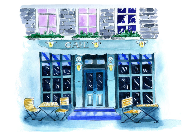 Water color painting of a French cafe