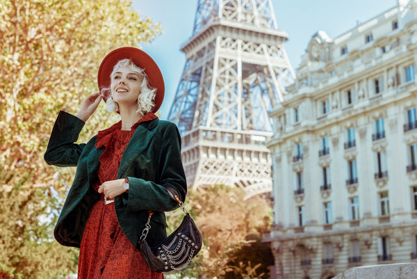 French woman in chic outfit