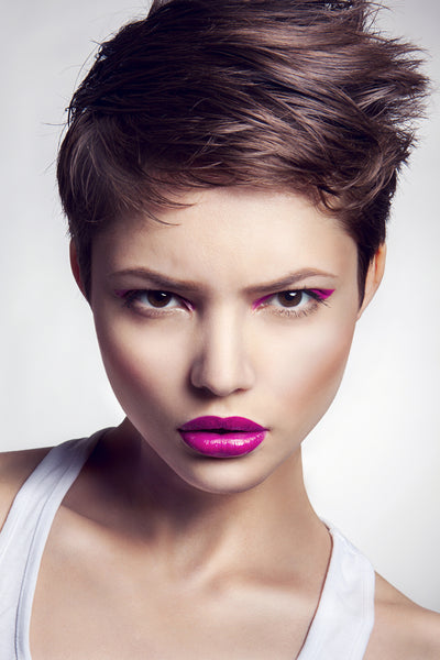 Edgy model with purple lipstick